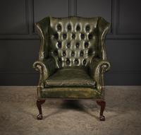 Vintage Green Leather Wing Chair (5 of 25)