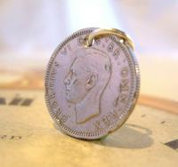 Vintage Pocket Watch Chain Fob 1948 Lucky Silver Sixpence 6d Coin Fob (2 of 7)
