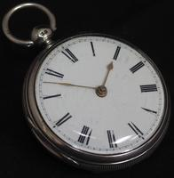 Antique Silver Pair Case Pocket Watch Fusee Lever Escapement Key Wind Enamel Dial Nice (6 of 6)