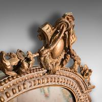 Antique Gesso Wall Mirror, Italian, Giltwood, Glass, Shield, Victorian c.1900 (4 of 10)