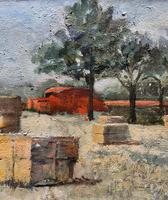 Lovely Original 20th Century Vintage Impressionist Harvest Haystack Landscape Painting (7 of 12)