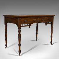 Antique Writing Desk, English, Mahogany, Leather, Side Table, Edwardian c.1910
