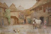 Antique Original 19th Century Watercolour - Groom with Horse - 1894 - poss. J F Pasmore 1820-1881 (3 of 6)