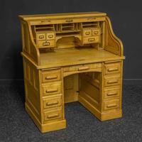 Small Oak Roll Top Desk (5 of 12)