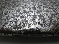 Quality Victorian 1894 Solid Sterling Silver & Leather Aide Memoire Card Note Stamp Case Purse Wallet. English Hallmarked (6 of 12)