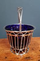 Antique Solid Silver & Bristol Blue Glass Basket (4 of 6)