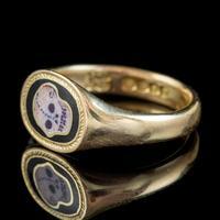 Antique Edwardian Memento Mori Skull Signet Ring 18ct Gold Dated 1902 (3 of 8)