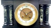 Antique French Slate & Green Marble Mantel Clock Striking 8-day (5 of 9)