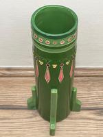 Original Art Nouveau Eichwald Pottery Green Glazed Rocket Flower Vase (11 of 23)