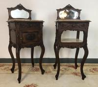 Antique French Walnut Bedside Cabinets Marble Tops & Mirrors Pot Cupboards (9 of 16)