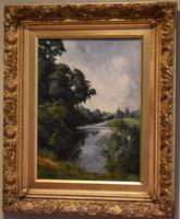 View of the Trent, oil painting by Percy Robinson (7 of 8)