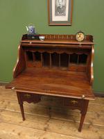 Antique Oak Roll Top Writing Desk, Tambour Front Bureau Desk (5 of 20)