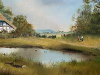 Lovely 'Chocolate Box Quality' Vintage 20thc English Landscape Oil Painting (7 of 15)