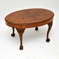 Antique Burr Walnut Oval Coffee Table (8 of 8)