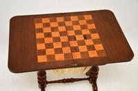 Antique Victorian Walnut Games / Chess Table (3 of 12)