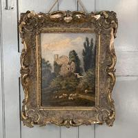 Antique Victorian landscape oil painting study of a ruin with sheep (5 of 10)