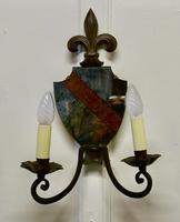Pair of Wrought Iron Heraldic Shield Shaped Girandole Wall Mirrors (6 of 7)