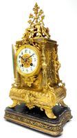 Superb Antique French Ormolu Mantel Candelabra Clock Set Embossed Decoration Finial 8 Day Striking (10 of 15)