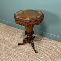 Fine Quality Victorian Figured Walnut Antique Work Box (5 of 9)
