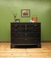 Antique Painted Black Bow Front Chest of Drawers, Gothic Shabby Chic (10 of 19)