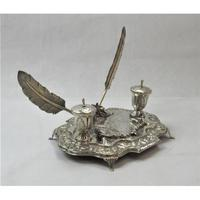 Impressive Sterling Silver Inkwell, approximately 42 x 21cm. (3 of 7)