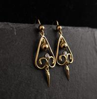 Antique Victorian Diamond Drop Earrings, 15ct Gold (7 of 10)
