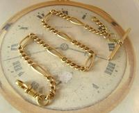 Antique Pocket Watch Chain 1890s Victorian Brass Figaro Link Albert With T Bar (4 of 11)