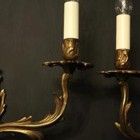 French Pair of Gilded Antique Wall Sconces (3 of 10)