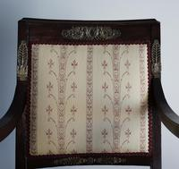 Mahogany Napoleonic and heavily mounted brass  upholstered armchair. (3 of 6)