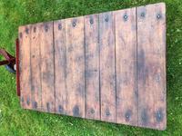 English Vintage Railway Willmot Trolley Oak Iron Plank Top Coffee Wheel Table (19 of 25)