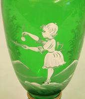 Mary Gregory Painted Green Glass Shaped Vase (3 of 6)