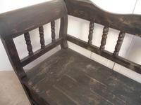 Shabby Chic Black 4 Seater Antique Pine Kitchen / Hall Box Settle / Bench (8 of 10)