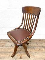 Early 20th Century Antique Oak Swivel Desk Chair (7 of 10)