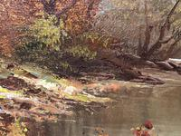 "20th Century Oil Painting Landscape Forest River ""View Through The Trees"" (3 of 20)"