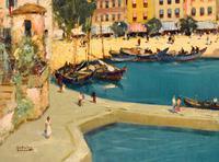 Italian lake scene oil painting by Godwin Bennett (6 of 8)