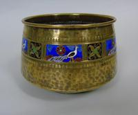 WMF Art Nouveau Planished Brass & Enamel Planter Jardiniere Albert Meyer (5 of 8)