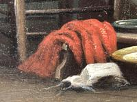 """19th Century English School Oil Painting """"The Loyal Sentinel"""" Dog Guarding Child (5 of 17)"""