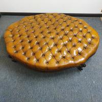 Deep Buttoned Leather Rosewood Stool (4 of 8)