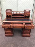 Antique Anglo Indian Teak Pedestal Writing Desk (9 of 13)
