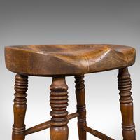 Antique Artist's Stool, English, Beech, Ash, Saddle Seat, Victorian c.1900 (10 of 12)