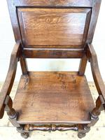 Pair of Antique Oak Throne Chairs (9 of 13)