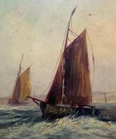 19thc (British School) Fishing Boats In Rough Seas Oil On Board Painting (9 of 13)