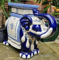 Mid 20th Century French Ceramic Hand-painted Elephant-form Garden Seat (4 of 9)