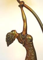 An Unusual Stylised Maiden Art Deco Table Lamp & Shade C.1920's (2 of 11)