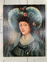Antique Spanish oil painting study of a society lady with bonnet (6 of 10)