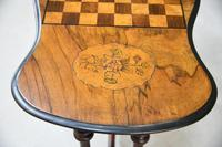 Antique Walnut Inlaid Victorian Games Table (4 of 10)