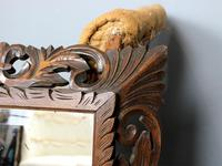 Late 19th Century French Carved Oak Cushion Mirror (2 of 4)
