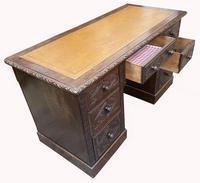 Good Quality Victorian Oak Pedestal Desk (4 of 7)