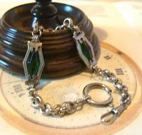 Antique Pocket Watch Chain 1910 Art Nouveau Silver Chrome & Green Glass Albert (4 of 12)