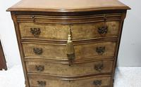 Burr Walnut Serpentine Shaped Chest of Drawers (3 of 9)
